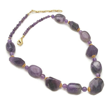 Amethyst Necklace Gemstone Nuggets Signed Lee Sands Chunky Necklace Genuine Amethyst Jewelry Fashion Jewellery