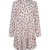White Floral Long Sleeve Tiered Smock Dress