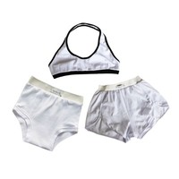 White Halter Bra, Shorts & Panties Set