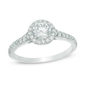 1 CT. T.W. Diamond Frame Engagement Ring in 14K White Gold