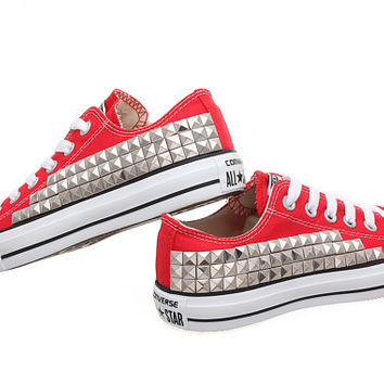 Studded Converse, Converse Red Low Top with Silver Pyramid Studs by CUSTOMDUO on ETSY