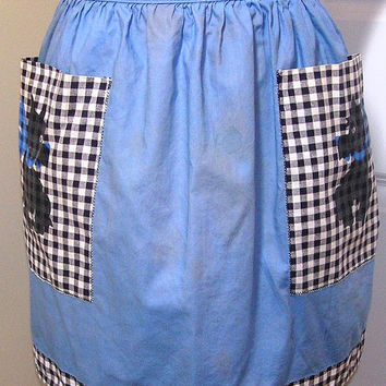 Vintage Blue and Black Cotton Kitchen Apron with Gingham and Dog Theme Pockets and Trim, Circa 1950s--1960s