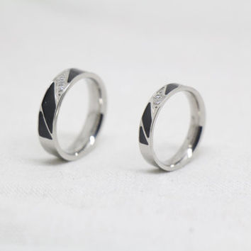 2pcs-Free Engraving Platinum promise rings.couple rings,wedding bands,lovers rings,platinum promise rings,his her rings