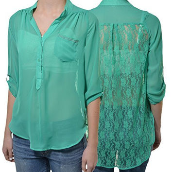 Penelope Lace Back High Low Chiffon Layering Shirt (Emerald Green)