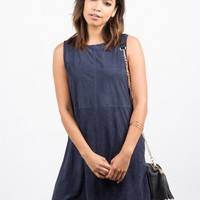 Suede Stitched Tank Dress