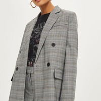 Checked Double Breasted Jacket | Topshop