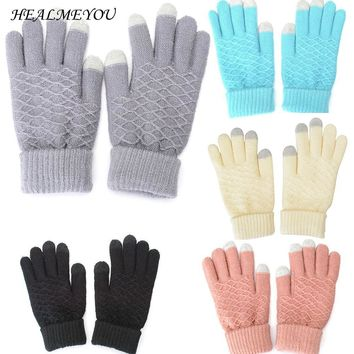 1Pair Touch Screen Gloves Women Girl Stretch Knit Mittens Winter Warm Gloves NEW