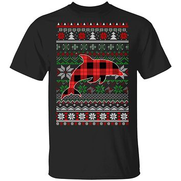 Dolphin Red Plaid Ugly Christmas Sweater Funny Gifts