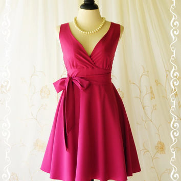 My Lady II Spring Summer Sundress Vintage Design Magenta Party Dress Hot Pink Bridesmaid Dress Garden Party Sundress Pink Dresses XS-XL