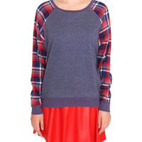 Fun Day Plaid Sweatshirt - Navy Multi