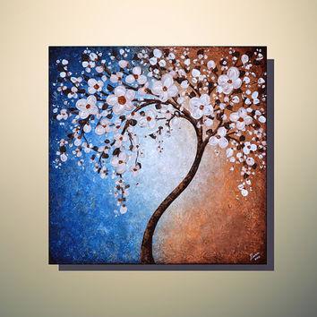 ORIGINAL ART 24 x 24 Palette Knife Textured Modern Home Decor Landscape Abstract Sping time White Cherry Blossom Tree Painting