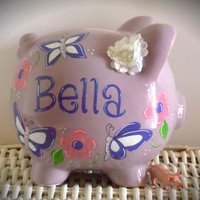 Personalized Hand Painted Piggy Bank With Flower and Butterfly Theme