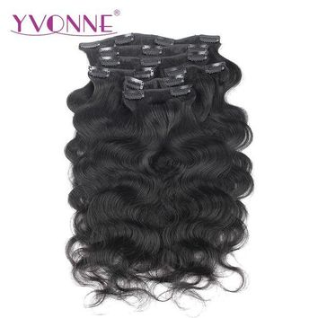 CUPUP9G YVONNE Body Wave Brazilian Virgin Hair Clip In Human Hair Extensions 7 Pieces/Set Natural Color 120g/set