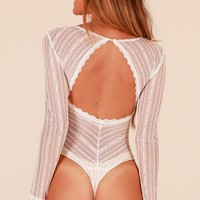 Straight To My Heart bodysuit in white lace Produced By SHOWPO