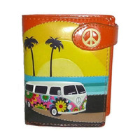 Vintage PEACE OUT Wallet Groovy Floral 60s Volkswagon Beetle Van Surfer Hippie Trifold Unisex Coin Purse Billfold Flower Power Birthday Gift