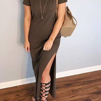 Brown Double Slit Round Neck Short Sleeve Maxi Dress
