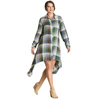 Curvy Plaid Print Shift Dress, Green