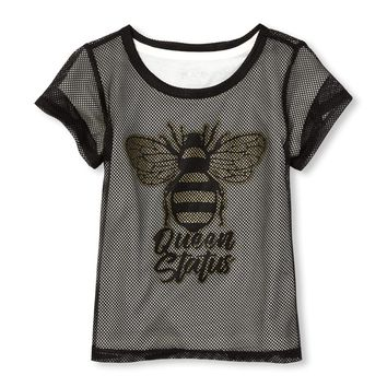Girls Active Short Sleeve Glitter 'Queen Status' Mesh Layered Top