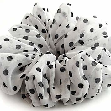 Polka Dotted Hair Scrunchie White Black Accessories Elastic Hair Ties