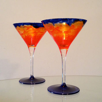 Hand painted 'Spring/Summer' collection crystal martini glasses.  Original design.  Price is for set of two.