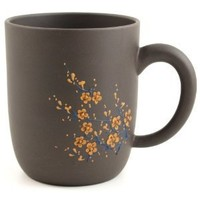 Black Cherry Blossom Chinese Yixing Clay Mug 21 ounces