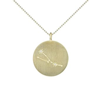 Gold Zodiac Pendant with Diamonds - Taurus