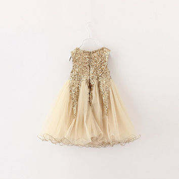 FREE US SHIP! Girls Gold, Pink or Red Sparkly Gold Sequin Lined Party Dress with Tulle