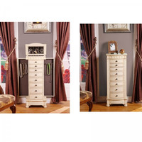 "Muscat 8 Drawer Jewelry Armoire (Antique Beige) (40.25""H x 16""W x 10.5""D)"