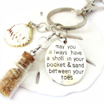 Beach Bottle Keychain with Shell in Pocket Quote Charm
