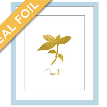 Basil Art Print - Gold Foil Print - Food Poster - Gold Foil Kitchen Wall Art - Food Art - Kitchen Art Print - Gift for Chef - Herb Art