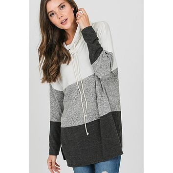 Cozy Cowl Neck Color Block Top - White and Charcoal