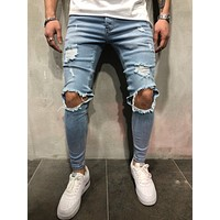 Men Denim Jeans Men Classic Stretch Jeans Pants Streetwear Fashion Knee Ripped Jeans for Men Clothes Europe Station Hip Hop