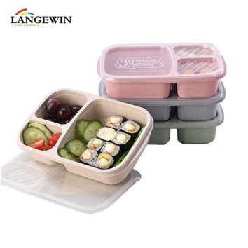 Eco Friends 3Grid Lunch Box Microwavable Heated Food Container Japanese Sytle Bento Lunch Box healthy Kawaii meal prep containe