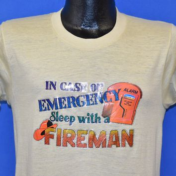 80s In Case Of Emergency, Sleep With A Fireman t-shirt Small