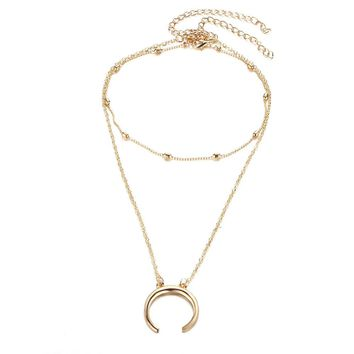 Double Horn Crescent Moon Charm Pendant Necklace