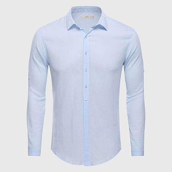 Cotton Linen Casual Shirt Hawaii Aloha Solid Slim Fit Men Shirt