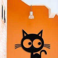 Wall Vinyl Sticker Funny Cat Kitty Pets Animals With Big Eyes Cool Decor for Kid's Room Unique Gift (z1564)