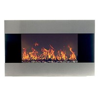 Stainless Steel Electric Fireplace With Wall Mount and Remote, 36 Inch