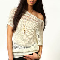 Ellie Batwing Pointelle Tunic Jumper