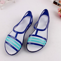 Jelly Sandals Women Shoes Mixed Colors Cross Women Summer Open Peep Toe Beach Shoes Garden Fashion Shoes