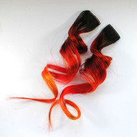 Fireplace / Human Hair Extension / Black Red Auburn Orange / Long Tie Dye Colored Hair