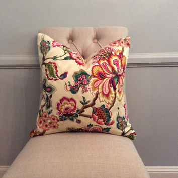 Handmade Decorative Pillow Cover - HGTV Home Bespoke Blossoms Sunset - Floral