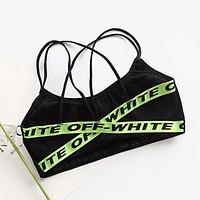 Off-White Trending Sexy Women Stylish Sport Yoga Underwear Bralette Brassiere Bra Green I12655-1