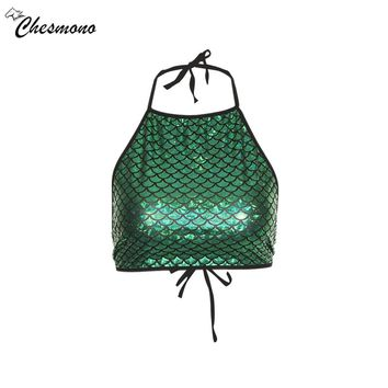 2018 Summer Sexy Crop Top Women Green Strapless Cropped Tshirt Fashion Stretch Bandeau Tank Party Mermaid Skin Print Bra Camis