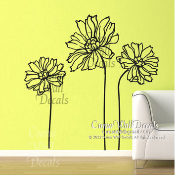 Flower wall decal sunflower Vinyl wall decal flowering tree wall art sticker decal Nursery wall decal children- sunflower Z102 cuma