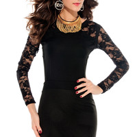 Black Long Lace Sleeves Dress with Open Back Cutouts