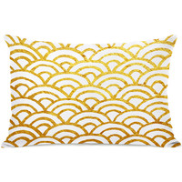 """Scallop"" Indoor Throw Pillow by OneBellaCasa, Gold, 14""x20"""