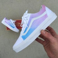 Custom Painted Vans Old Skool Sneakers - Pastel Colored Ombre Gradient