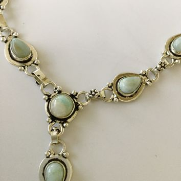 Larimar sterling silver necklace 18""