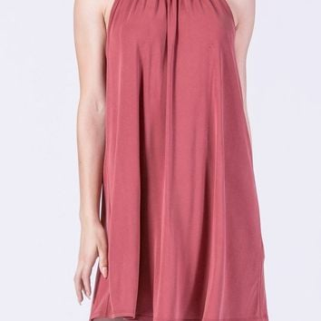 Celena Gathered Neck Dress in Brick